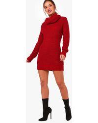 Boohoo - Petite Amber Oversized Soft Knit Cowl Neck Jumper - Lyst