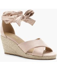 Boohoo - Tia Wide Fit Cross Strap Wrap Espadrille Wedges - Lyst