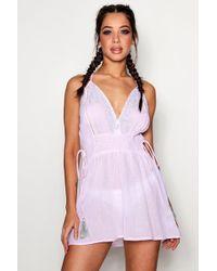 Boohoo - Beaded Scallop Neck Beach Dress - Lyst