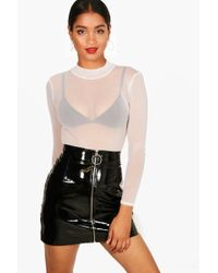 3447b33606c3 Boohoo Rose Turtle Neck All Over Mesh Body in White - Lyst