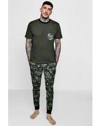 Boohoo - Slim Fit Pyjama Set In Camo - Lyst