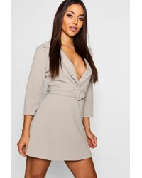 538de8cc0260 Boohoo - Covered Belted Blazer Dress - Lyst