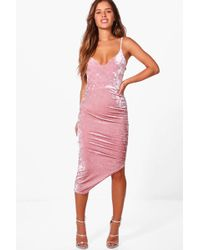 Boohoo - Petite Jasmine Crushed Velvet Strappy Shift Dress - Lyst