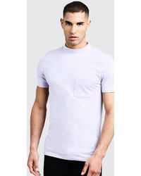 4b808e48 Boohoo Muscle Fit T-shirt With Extended Neck in Natural for Men - Lyst