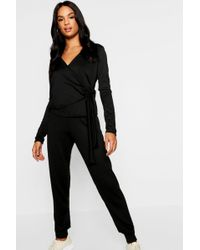 Boohoo - Tall Soft Knit Wrap Front Lounge Set - Lyst