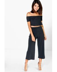Boohoo - Off The Shoulder Top And Culotte Co-ord Set - Lyst