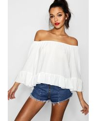 Boohoo - Woven Off The Shoulder Frill Sleeve Top - Lyst