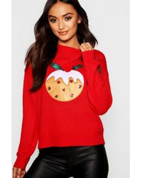 Boohoo - Christmas Pudding Applique Jumper With Pom Pom - Lyst