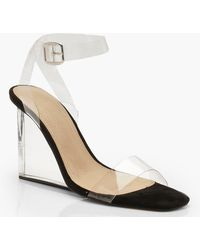 Boohoo - Clear 2 Part Wedges - Lyst