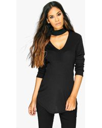 Boohoo - Maternity Veronica Metallic Choker Ribbed Top - Lyst