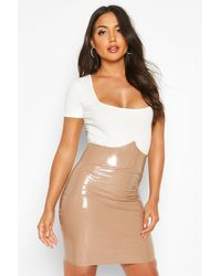 Boohoo Deep Waistband Vinyl Mini Skirt - Multicolour