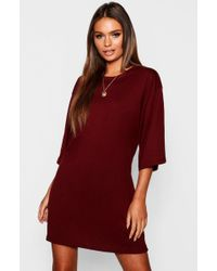 29e1b2721b85 Boohoo - Cotton Oversized 3/4 Sleeve T-shirt Dress - Lyst