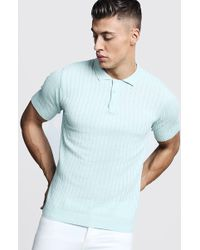 a29e4e717e56 Lyst - Boohoo Dele Rib Stripe Knitted Muscle Fit Polo in Blue for Men
