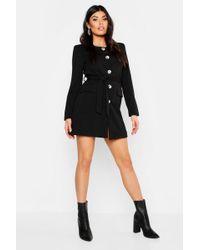 90d37001b8525 Boohoo - Collarless Button Through Belted Blazer Dress - Lyst