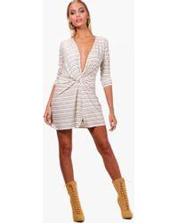Boohoo - Stripe Knot Front Micro Mini Bodycon Dress - Lyst