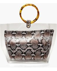 Boohoo - Clear & Faux Snake Bag With Resin Handles - Lyst