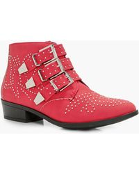 Boohoo - Kiki Pin Stud And Buckle Strap Ankle Boot - Lyst