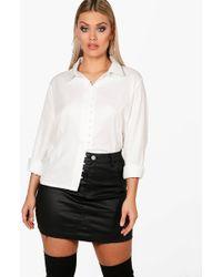 Boohoo - Plus Aimee Button Detail Shirt - Lyst