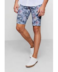 Boohoo - Skinny Fit Floral Print Tailored Shorts - Lyst