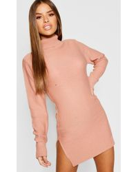 Boohoo - Petite Knitted Roll Neck Jumper Dress - Lyst