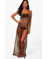Boohoo - Clara Mermaid Metallic Split Front Beach Maxi Dress - Lyst