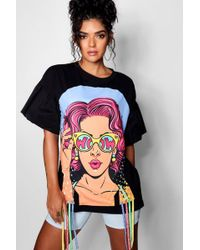 Boohoo - Flared Sleeve Face Print Longline T Shirt - Lyst