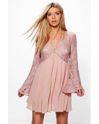 Boohoo - Corded Lace Button Woven Smock Dress - Lyst