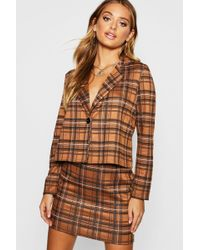 Boohoo - Knitted Check Blazer And Skirt Set - Lyst