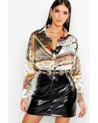 Boohoo - Chain Print Oversized Satin Shirt - Lyst