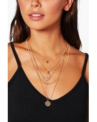 Boohoo - Wishbone & Coin Layered Chain Choker - Lyst