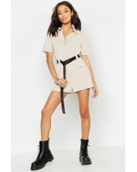 c1a3e7f7afe Lyst - Boohoo Utility Safety Buckle Cargo Playsuit in Black
