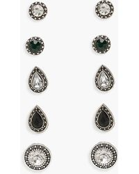 Boohoo - Diamante And Gem Mixed Stud Pack - Lyst
