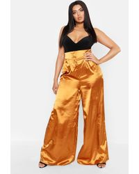Boohoo - Plus Satin High Waist Wide Leg Trousers - Lyst