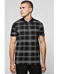 Boohoo - Kariertes Polo-Shirt mit Reißverschluss in Jacquard-Optik - Lyst