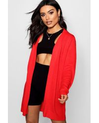 Boohoo - Midi Length Open Front Cardigan - Lyst