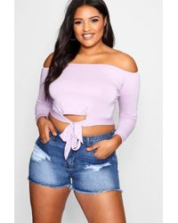 Buy Cheap Classic Choice Online Boohoo Plus Twist Front Balloon Sleeve Crop Top 2018 Online yUBFZS3Zct
