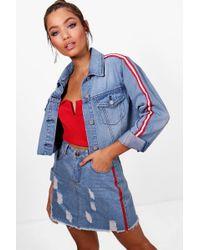 Boohoo - Sports Stripe Denim Mini Skirt - Lyst