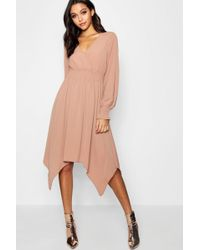 9573ed799aee Lyst - Boohoo Boutique Lace Insert Hanky Hem Dress in Pink