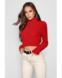 Boohoo Tall Roll Neck Cable Knit Jumper