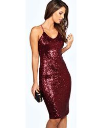 Boohoo - Kylie Sexy Sequin Strappy Midi Dress - Lyst