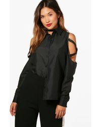 Boohoo - Buckle Cold Shoulder Shirt - Lyst