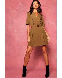 82dee135a77d4 Boohoo - Horn Button Belted Utility Blazer Dress - Lyst