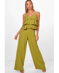 Boohoo - Ruffle Strappy Wide Leg Jumpsuit - Lyst