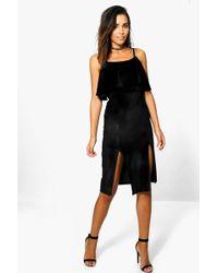 Boohoo - Maddie Velvet Frill Strappy Midi Dress - Lyst