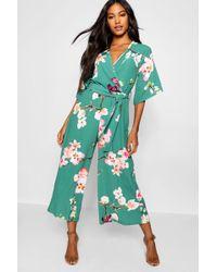 Boohoo - Floral Wrap Culotte Leg Jumpsuit - Lyst
