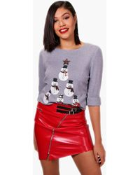 Boohoo - Christie Sequin Snowman Tower Christmas Jumper - Lyst