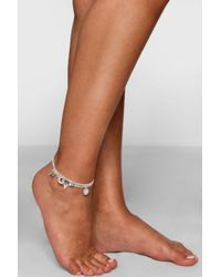 Boohoo - Moon Arrow And Star Charm Anklet 4 Pack - Lyst