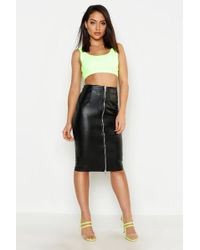 Boohoo Pu Leather Look Zip Front Midi Skirt