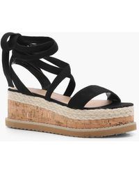 b6d63f467147 Boohoo Cross Strap Espadrille Flatform Wedges in Black - Lyst