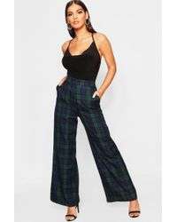 Boohoo - Tartan Check Wide Leg Trousers - Lyst